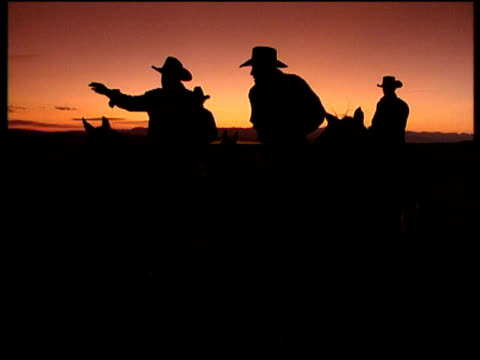 stockvideo's en b-roll-footage met silhouetted cowboys on still horses talk in front of a pink/orange sky wyoming - cowboyhoed