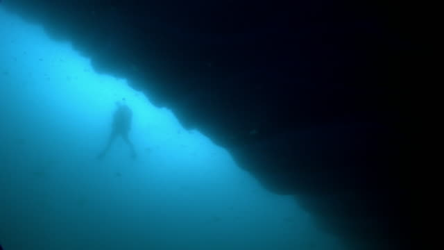 silhouetted diver next to a large iceberg - diving flipper stock videos & royalty-free footage