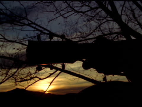 stockvideo's en b-roll-footage met silhouetted hands play guitar at sunset, tree branches in background, waterbury, vermont - jaar 2000 stijl
