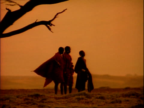 MS Silhouetted Masai tribesmen, capes blowing in wind, against dusk sky, Tanzania