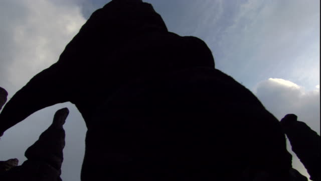 Silhouetted rock formations line the summit of Auyantepui. Available in HD.
