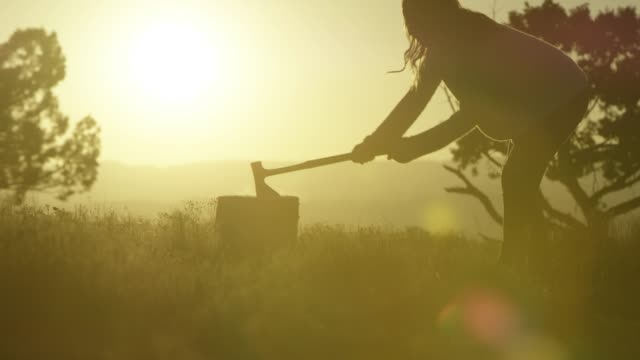a silhouetted woman wedges axe into tree stump and gathers firewood at sunset - firewood stock videos & royalty-free footage