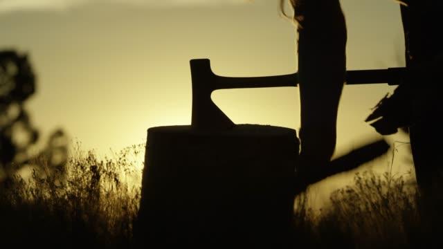 vídeos de stock, filmes e b-roll de uma mulher recortada cunhas machado em tronco de árvore e reúne lenha ao pôr do sol - firewood