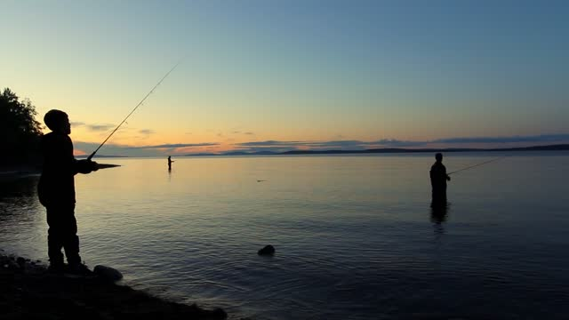 silhouettes of a family of fishermen with a child catch together freshwater fish from the shore using fishing rods in the evening on a calm large lake in karelia - camminare nell'acqua video stock e b–roll