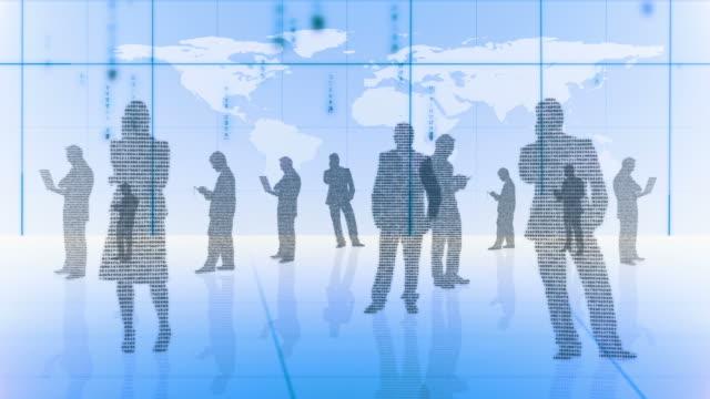 silhouettes of business people made with binary codes - 床点の映像素材/bロール