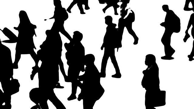silhouettes of city people on the move - large group of people stock videos & royalty-free footage