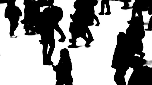 silhouettes of city people on the move - pedestrian stock videos & royalty-free footage
