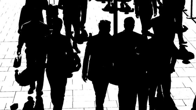 t/l b/w silhouettes of city people on the move - high contrast stock videos & royalty-free footage