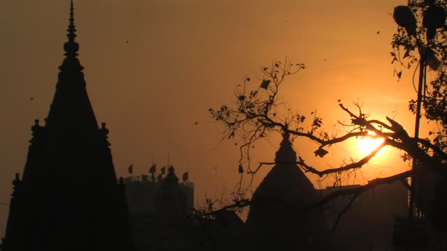 MS, Silhouettes of domes and kites flying against golden sky at sunset, Varanasi, Uttar Pradesh, India
