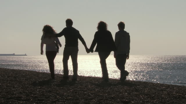 ms, silhouettes of family with two children (10-11, 12-13) walking on brighton beach at sunset, rear view, brighton, sussex, united kingdom - controluce video stock e b–roll