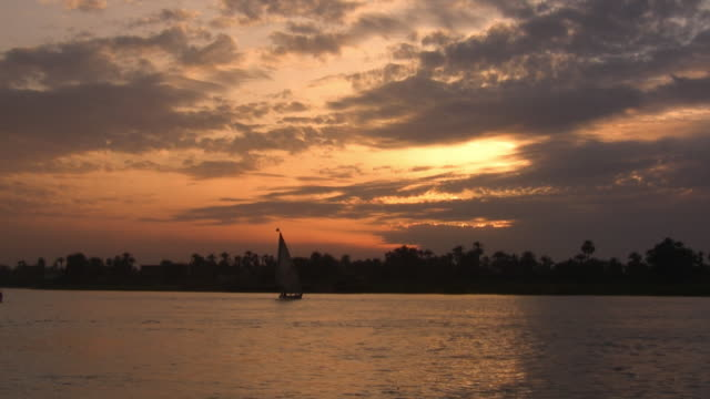 WS, Silhouettes of felucca boats on Nile River at sunset, Egypt