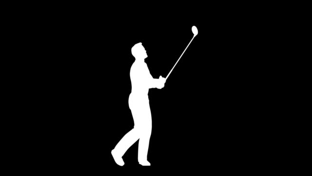 Silhouettes of Man and Woman hitting a Golf Ball