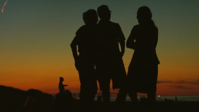 ms, silhouettes of people at bonfire on beach at dusk, north truro, massachusetts, usa - einzelne frau mit männergruppe stock-videos und b-roll-filmmaterial