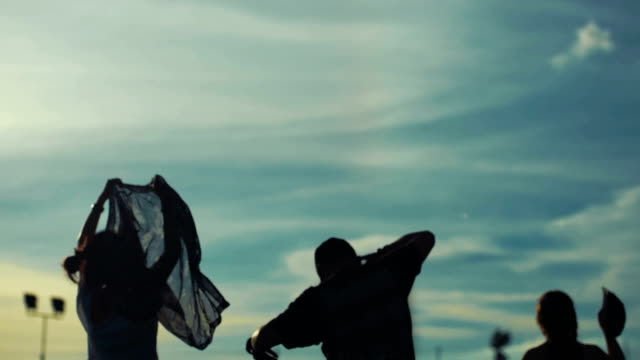 silhouettes of people dancing at festival - day stock videos & royalty-free footage