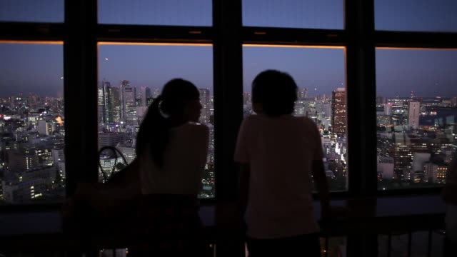 MS Silhouettes of people looking at cityscape from observation tower at night / Tokyo, Japan