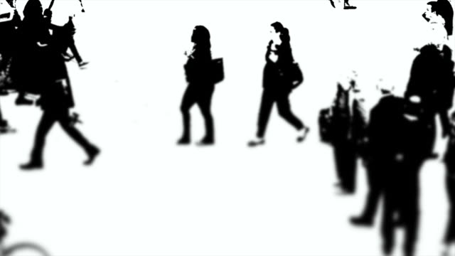 b/w silhouettes of people on the move - unterwegs stock videos & royalty-free footage