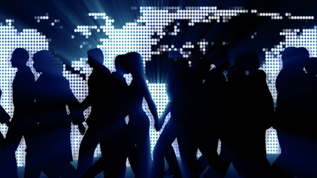 CGI, Silhouettes of people with glowing continents in background