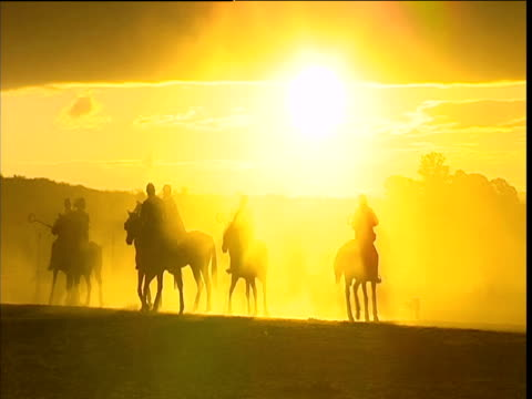 Silhouettes of polo players on horses under golden sunset Waterberg Plateau South Africa