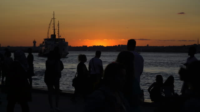 silhouettes of the people at kadikoy - turkey middle east stock videos and b-roll footage