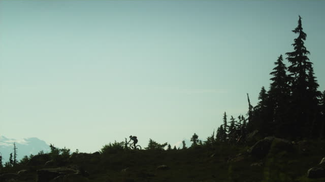 WS Silhouettes of three people cycling across Alpine meadow, Coast Mountains, Squamish, British Columbia, Canada