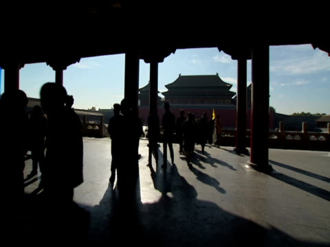 Silhouettes of tourists milling around inside temple blue sky and other temple in background Forbidden City Beijing