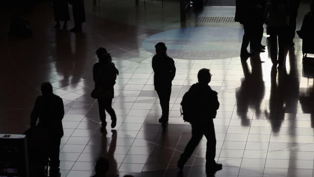 stockvideo's en b-roll-footage met silhouettes of travelers - lobby