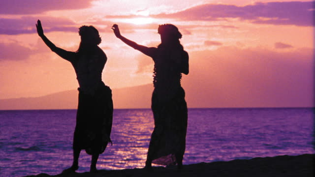 PURPLE silhouettes of two female hula dancers dancing in unison / ocean in background / Hawaii