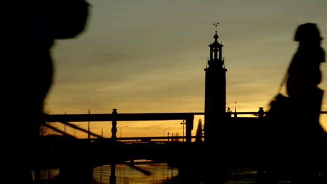 silhouettes of walking people - stockholm stock videos & royalty-free footage