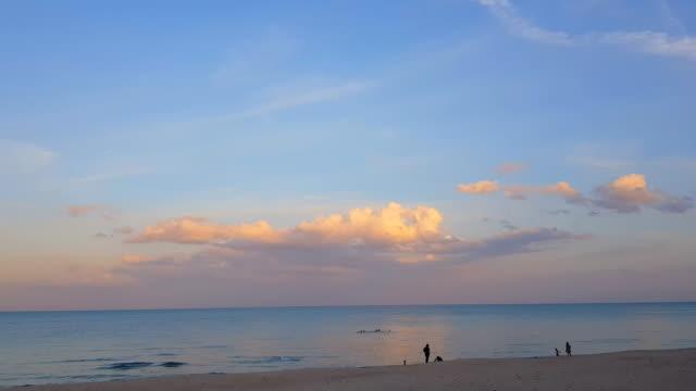 vidéos et rushes de silhouettes du jeune groupe de gens sautant dans la plage au coucher du soleil - eco tourism