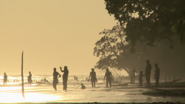 silhouettes on the beach - see other clips from this shoot 1157 stock videos & royalty-free footage