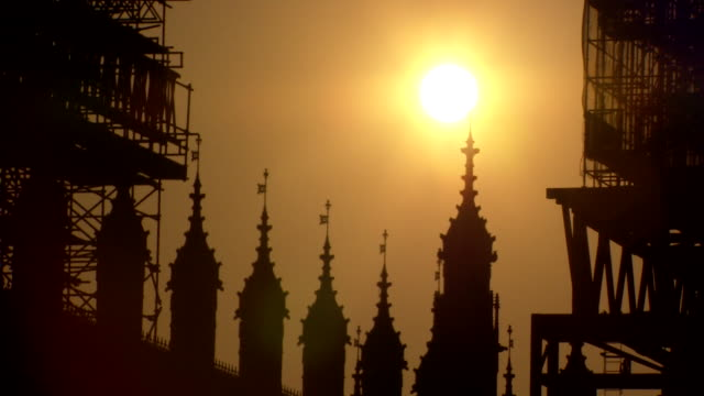 silhoutte houses of parliament at sunset - politics stock videos & royalty-free footage