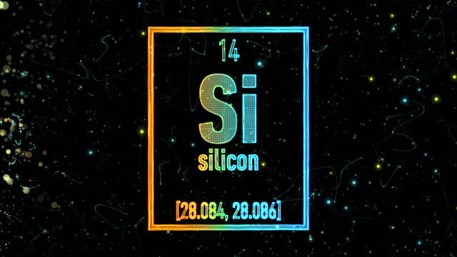 vídeos de stock e filmes b-roll de silicon symbol as in the periodic table - silício