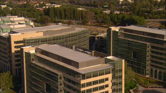 AERIAL Silicon Valley office buildings in Mountainview, California, USA