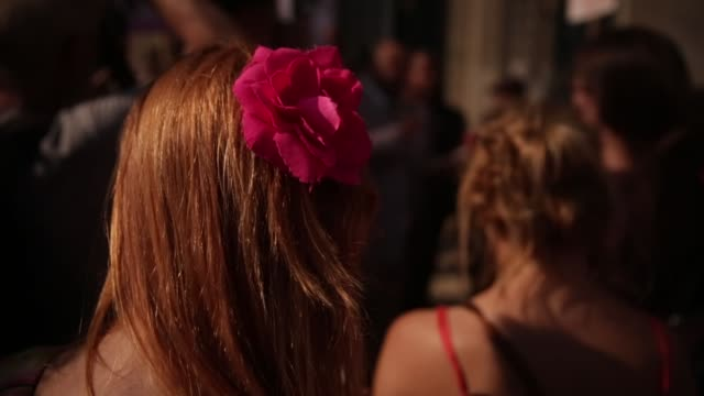 cu silk flower hair clip detail shot on an activist during the rally washington dc august 27 2014 activists will rally outside the justice department... - hair clip stock videos & royalty-free footage