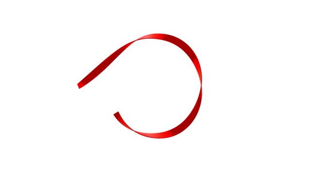 seidenband banner isoliert auf weißem hintergrund (loop 4k + alpha) - satin stock-videos und b-roll-filmmaterial