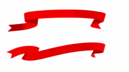 Silk Ribbon banner isolated on white background (Loop 4k + alpha)