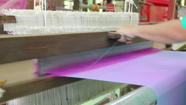 silk weaving - loom stock videos & royalty-free footage