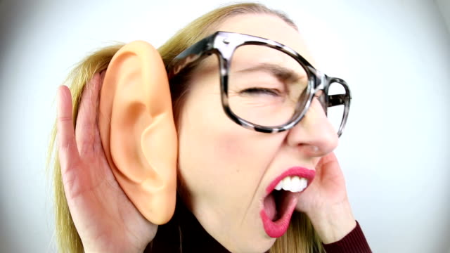 silly woman with large ears - human ear stock videos & royalty-free footage