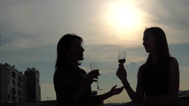 silouhette människor dricker vin - party social event bildbanksvideor och videomaterial från bakom kulisserna
