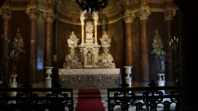 silver altar in the metropolitan cathedral in santiago de chile the altar was built by two jesuit brothers the metropolitan cathedral the seat of the... - jesuit stock videos and b-roll footage