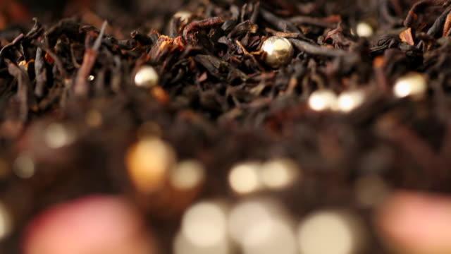 ecu r/f zi silver bead with black tea leaves / seoul, south korea - black tea stock videos and b-roll footage