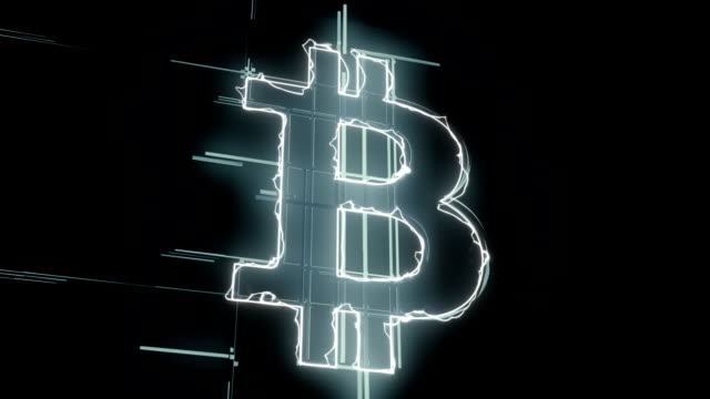 Silver Bitcoin appearing with energy line loopable background