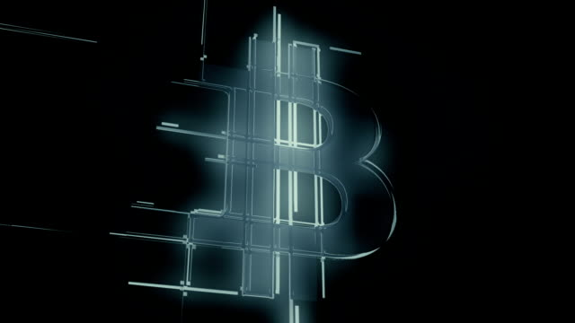 Silver bitcoin sign from lines loop