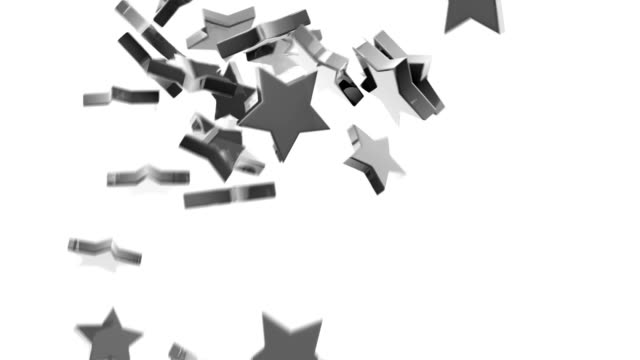 silver chrome stars animation (full hd) - grayscale stock videos and b-roll footage