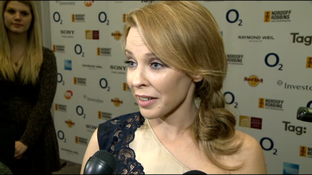 silver clef awards: celebrity interviews; gvs kylie minogue paps shooting kylie minogue interview sot - on not imagining this when she started on... - choir stock videos & royalty-free footage
