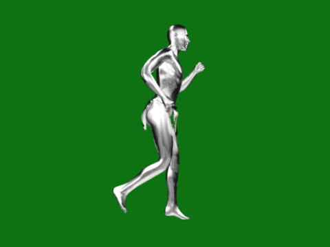 WS CGI Silver computerized figure running across green background
