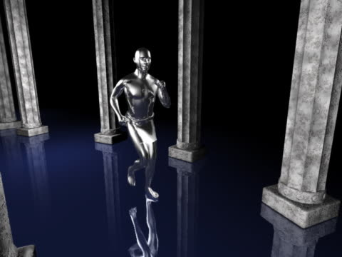 WS CGI Silver computerized figure running through rows of columns