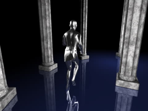 ws cgi silver computerized figure running through rows of columns  - male likeness stock videos & royalty-free footage