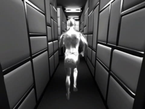 ws cgi pov silver computerized figure running through silver paneled maze  - digital animation点の映像素材/bロール