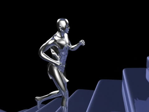 MS ZI CGI Silver computerized figure running up spiral stairs